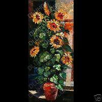 ANDRE DLUHOS LISTED Artist SUNFLOWERS Floral Original Oil Painting Palette Knife