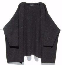 "Eskandar BLACK TWEED Medium Weight Wool Cashmere 36"" Long Cardigan O/S $1690"