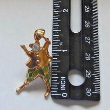 Stamped Trifari clown green enamel & gold toned pin lapel brooch 1997 jewelry
