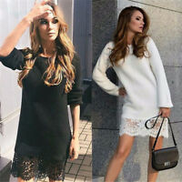 Fashion Women Casual Long Sleeve Evening Party Dress Cocktail Mini Dress Lace