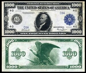 Reproduction US $1000 Dollar Bill, Series 1918  / Large Size Horse blanket