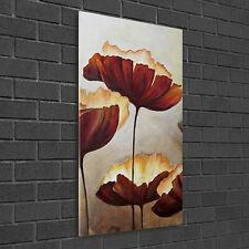 Wandbild Kunst-Druck auf Hart-Glas hochkant 50x100 Mohnblumen