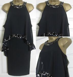 NEW Coast Ladies Sarah Sequin Trim Dress Occasion Evening Black Overlay £99