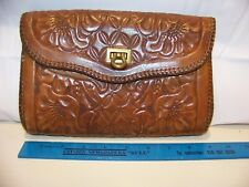 Hand Tooled / Handmade Leather Clutch with Inside Zippered Compartment