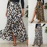 UK Women High Waist Leopard Skirt Ladies Beach Party Wrap Ruffle Maxi Dress 8-26