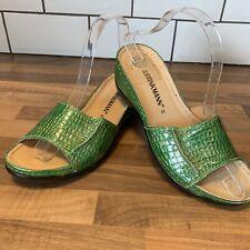 DR BRINKMANN Ladies Mock Crocodile Wedge Mule Sliders Sandals Size 6 EU39 Green