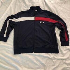Vintage Fila sport Mens Full Zip Track Jacket Blue/Red White Striped Size XXL