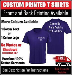 Custom Printed T Shirt UK Workwear Work Tees Personalised Company Logo Tops Text