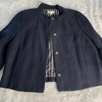 Isaac Mizrahi for Target Blue Jacket Blazer Women's 16 Tweed Snap Closure