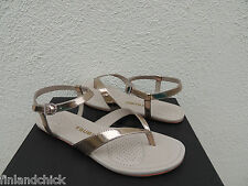 TSUBO BELLAH LIGHT GOLD PATENT LEATHER ANKLE STRAP SANDALS, US 9/ EUR 40 ~ NEW
