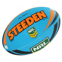 Steeden NRL Size 5 Ball in Two-Tone Neon Blue/Neon Orange- Rugby League Football
