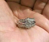 Engagement Wedding Bridal Ring Set 1.59Ct VVS1 Round Diamond 14k White Gold Over