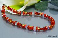 Glass Jewels Silber Collier Kette Halskette Schmuckkette in Rot Würfel #A008