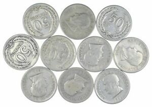 Lot of 10 El Salvador 1953 50 Centavos Silver Coin Lot Rare one Year Issue *454