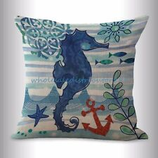 US SELLER- marine nautical ocean animal seahorse cushion cover modern throw