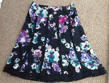 Monsoon Size 16 Skirt Floral Green Purple Black Cotton Fully Lined Gorgeous