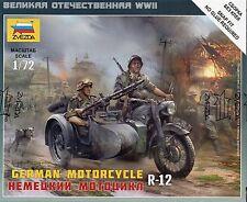 Zvezda 1/72 Figures - German Motorcycle R-12 + Soldiers Z6142
