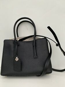 Kate Spade Margaux Medium Satchel Bag Leather Pale Black NEW $298