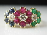 Ruby Emerald Sapphire Diamond Ring Flower Cluster Estate 14K Yellow Gold Estate