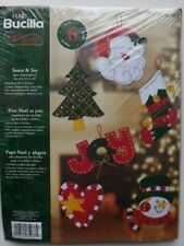 SANTA AND JOY FELT ORNAMENTS KIT SET OF 6