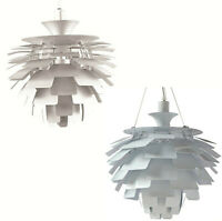 """White or Silver Thistle Leaf Pendant Aluminum Hanging Lamp Chandelier 23"""" Dia."""