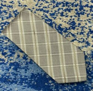 Banana Republic Black Gray Silver Soft Gold Bias Plaid Silk Necktie