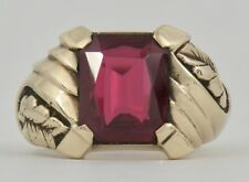 MENS ANTIQUE VINTAGE 10K GOLD CARVED LEAF SYNTHETIC RUBY RING SZ 8 ECCO