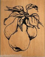 Wood Mounted Rubber Stamp J-9990, Pears & leaves,  Nature S16