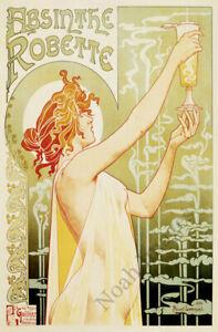 Absinthe Robette vintage liquor ad poster repro 12x18
