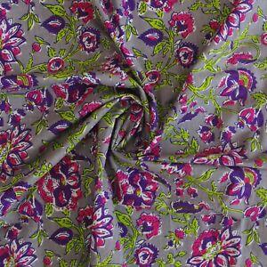 Indian Hand Block Print Grey Floral 100% Cotton Women Dress Craft Fabric (D-30)