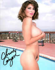 Busty Adult Film Legend CHRISTY CANYON by pool signed photo!