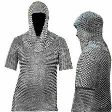 Aluminum Riveted Coif Chain Mail Hood Medieval Armour 16 Gauge 10 mm Reproductio