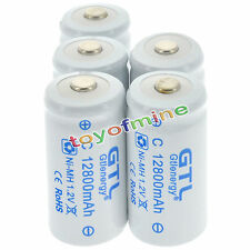 6x C size 1.2V 12800mAh Ni-MH White Color Rechargeable Battery