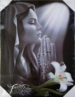 DGA Day of the Dead Religious Praying Canvas Wall Art 12x16 Inch Faith Flower