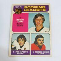 1975-76 O-Pee-Chee #210 Phil Esposito Marcel Dionne Bobby Orr Hockey Card