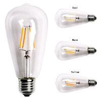 E27 220V 2/4/6/8W ST64 COB LED Filament Bulb 360° Bright Dimmable Light Lamp