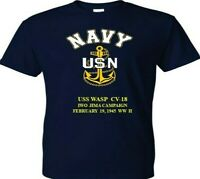 USS WASP  CV-18  IWO JIMA 1945 WW II VINYL & SILKSCREEN NAVY ANCHOR SHIRT.