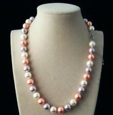 "10mm AAA+ white pink purple Multicolor south sea shell pearl necklace 18"" LL001"