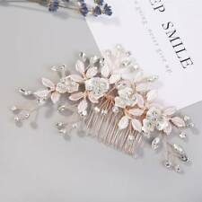 Rose Gold Crystal Hair Comb Wedding Hair Accessories Handmade Bride Hair Jewelry
