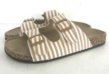 Tidewater Sandals Women's Slip-on CORK low heel CANVAS tan stripes size 8