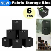 6 Pack Storage Box Organizer Fabric Collapsible Cube Bins Basket Container Home