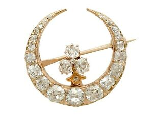 Antique 2.13ct Diamond and 18k Yellow Gold Crescent Brooch Circa 1890