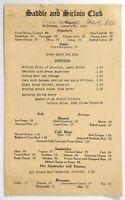 1948 Original Vintage Menu SADDLE & SIRLOIN CLUB Union Stock Yards Chicago IL