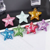 Random Colours 2-3cm Glitter Resin Cabochons Star Shaped Flatback Decors 20 pcs
