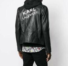 KARL LAGERFELD LEDERJACKE M 48 jacke leather jacket black biker logo