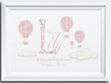 Personalised baby boy girl clouds hotair balloon nursery walldecor print picture