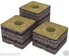 """8pc GroDan Delta 4 Block / Cube 3""""x3""""x2.5"""" W/ Hole Rockwool Stonewool BAY HYDRO"""