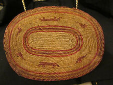 S38 northwest native american woven sweet grass mat birds otters