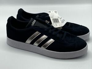 Adidas Women's Size 11 VL Court 2.0 Lifestyle Shoes Suede Black Metallic EE6784
