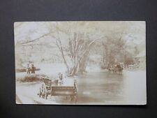"""1908 Hertfordshire """"TROUT STREAM WATFORD"""" Real Photographic Postcard posted"""